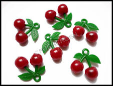 FREE SHIPPING--Plastic Sweet Red Cherry Charms Pendant Hanging Decoden DIY F701