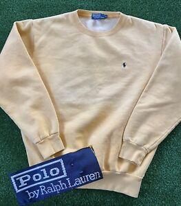 VTG 90s Polo Ralph Lauren Crewneck Pullover Sweatshirt Yellow Men's Size Medium