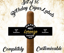 Set of 16 Personalized Cigar Labels Happy Birthday Party Favor Custom Vintage