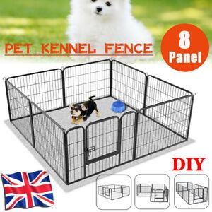 8 Panel Foldable Metal Dog Fence Puppy Play Pen Pet Playpen Heavy Duty Enclosure