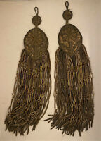 Pair of 2 Antique French Gold Gilt Bullion Fringe Tassels Passementerie - 12""