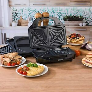 Salter XL 4 in 1 Snack Maker Waffle Panini Toastie Omelette Plates 900W Stainles