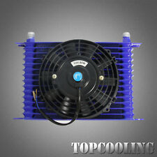 "Universal Engine Transmission Oil Cooler 15 Row AN10 Blue + 7"" Electric Fan"