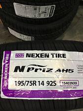 4 New 195 75 14 Nexen N'Priz AH5 White Wall Tires