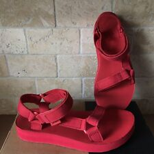 TEVA MIDFORM ORIGINAL UNIVERSAL LEATHER RACING RED STRAPPY SANDALS SIZE 10 WOMEN