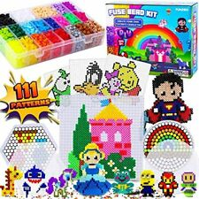 FunzBo Fuse Beads Craft Kit - 111 Patterns Melty Fusion Colored Arts And Crafts