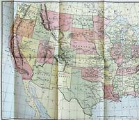 1904 United States Map Texas Colorado Montana Florida great Lakes ORIGINAL