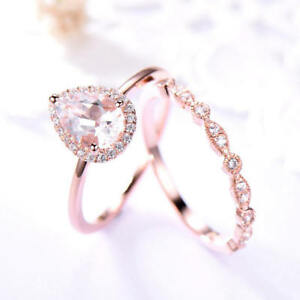 2Ct Pear Cut Morganite Simulant Diamond Engagement Ring Set Silver Rose Gold Fns