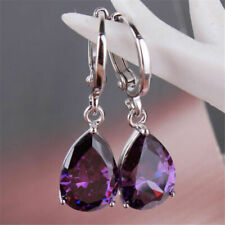 925 Silver filled Amethyst Crystal Sapphire Earring With Round Lever Back Top