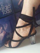 Black Transparent Block Heel Faux Ankle Tie Sandal Sizes UK 3 5 6 7 8 / EU 36-41