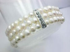 3 Rows Genuine White Freshwater Pearl 18KWGP Crystal Stretchy Bangle Bracelet