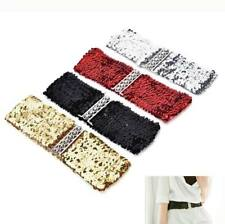 WOMENS STRETCH SEQUIN BUCKLE BELT WIDE WAIST IN BLACK, RED,GOLD & SILVER