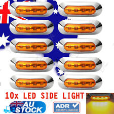 10x Amber 4 LED Side Clearance Marker Light Truck Trailer Lamp w/ Chrome Housing