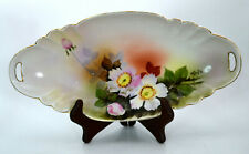 Vintage Noritake Double Handled Celery Bowl Hand Painted Signed Flowers