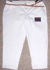GLORIA VANDERBILT White 3 Ways to Wear Cropped Capris Pants with Belt Size 24W