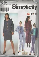 Simplicity 9399 By Karen Z Misses Jacket Top Skirt and Pants  Size 12 - 18