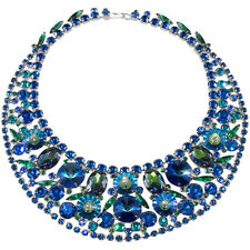 Juliana Bib Necklace Peacock Blue Rivoli Everything Rhinestones DeLizza Elster