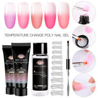 MEET ACROSS 20ml Temperature Change Poly Nail UV Gel Kit Set Poly Extension Gel