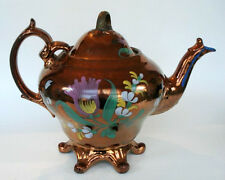 Antique English Copper Lustreware Lusterware Tea Pot  Porcelain