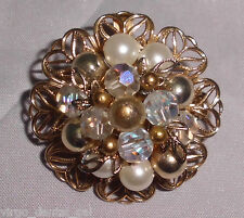 Vintage Gold Tone Clear AB Crystal Faux Pearl Metal Beaded Pin Brooch Pendant