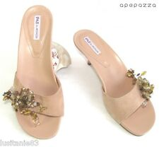 APEPAZZA - MULES BIJOUX PETITS TALONS CUIR & PERLES BEIGE ROSE 37 - COMME NEUF