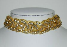 V M ELEGANT COUTURE RHINESTONE STUDDED GOLD BEADS AND MATERIAL CHOKER NECKLACE 2