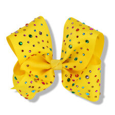 Large Boutique Girls Hair clip Bows summer trend Multi Colour Rhinestone (Yellow