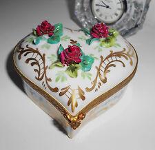 SIGNED CALVAIRE EXPENSIVE JEWELRY CASKET BOX HEART PORCELAIN ORMOLU