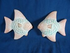 Set of 2 Pink / Blue Ceramic Fish Decor for bathroom or indoor planter