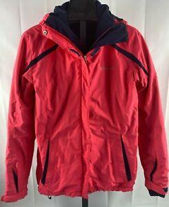Columbia Womens Size Medium  Omni Tech Interchange Jacket Pink Fleece Lined EUC
