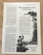 Packer's tar soap print ad 1922 vintage orig illustrated retro art fishing
