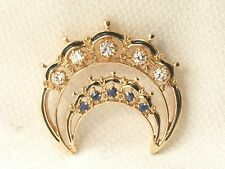 Estate Antique 14K Gold Sapphire & Diamond Enamel Crescent Pin Brooch or Pendant