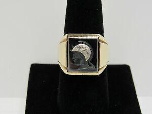 Antique Vtg 10K Solid Yellow Gold Hematite Intaglio Roman Soldier Ring  Size 9