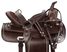 "16"" WESTERN BROWN PLEASURE TRAIL GAITED ENDURANCE HORSE LEATHER SADDLE TACK"
