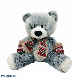 "HUGFUN INTERNATIONAL Teddy Bear W/Scarf & Mittens Measures 18"" Length VERY CLEAN"