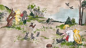 1940's Fabric Winnie The Pooh Official Cotton Panel 56cm W x 28cm Rare