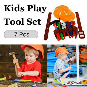 7Pcs DIY Kids/Children Workbench Tools Pretend Role Play Toy Set/Hat Belt Hammer