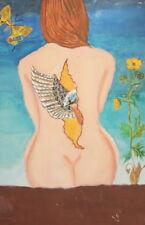 Vintage Surrealist Oil Painting Nude Woman Portrait
