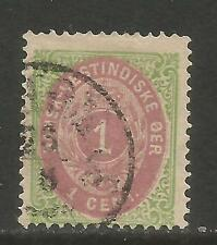 Danish West Indies 1874-79 1c green & brown red (5a) used