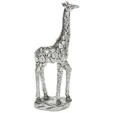More details for silver leaves giraffe 24.5cm standing ornament figurine gift home decor art deco