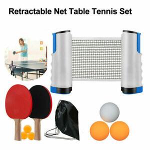 Instant Table Tennis Kit Ping Pong Set Retractable Net Rack + 2 Bats + 6 Balls