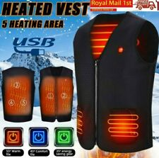 Mens Electric Heated Vest Jacket Coat Tops USB Warm Up Heating Pad Body Warmer