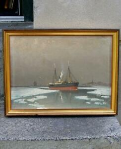 Danish cargo ship at Greenland. Arctic circle.  1920s. Signed.