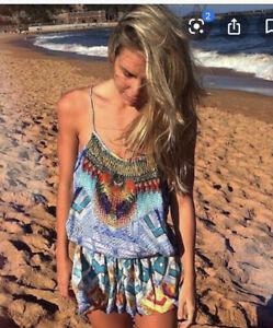 Camilla Franks Crossing Paths Shoestring Silk Playsuit Size 2 Medium $4 EXPRESS
