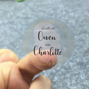Personalised Happy Tears Transparent Clear Wedding Stickers Favour Thank You