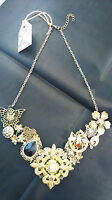 HAND CRAFTED MULTI ORNAMENTED LUCKY CHARMS DESIGN NECKLACE HIGHLY EMBELLISHED