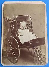 *Original* BABY IN CARRIAGE Stroller PRAM Buggy 1880's CDV Photo BELLEVILLE ONT