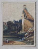 Aquarelle ancienne XVIII / XIX ème siècle école Hollandaise ?paysage signature