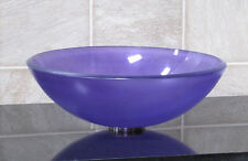 Bathroom Frosted Violet Glass Vessel Vanity Sink Drain