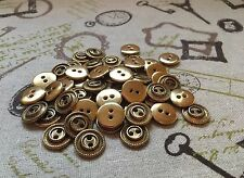 50 Metal Buttons Gold 2-hole 15mm Blazer job lot Arts & Crafts (216)